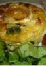 Minis clafoutis aux courgettes tomates marinées et fromage de chèvre
