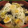 Morue au four avec oeufs oignons pommes de terre et olives (recette Portugaise)