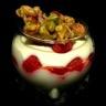 Mousse chocolat blanc framboises et croquant aux pistaches