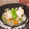 Nage de sole au basilic légumes marinés