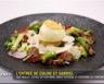 Œuf fermier sur une royale de volaille et foie gras sauce truffée et condiments