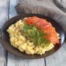 Œufs brouillés et gravlax de saumon