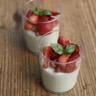 Panna cotta au basilic fraises au balsamique