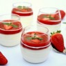 Panna cotta vanille et coulis de fraises à la menthe