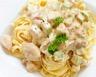 Pâtes fraîches à la crème poulet courgettes et estragon