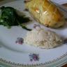 Pavé d'autruche en croûte purée de céleri épinards