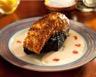 Pavé de saumon en croûte et risotto noir à la crème