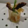 Petit pôt croustillant de carottes et ses finger mouillettes de poulet en croûte de noisettes et ...
