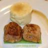 Pieds de porc panés revisités sur lit de gelée aux petits pois et purée au chaource