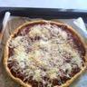 Pizza au chorizo poivron rouge tomate et oignon