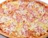 Pizza au jambon blanc parmesan olives noires et courgettes