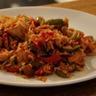 Poêlée aux deux poivrons poulet riz basmati et sauce soja
