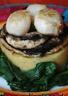 Poêlée de champignons et Saint-Jacques sur purée orangée à la cacahuète