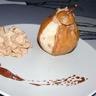 Poire rôtie crème chantilly aux amandes grillées & chocolat fondant