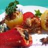 Poivrons et pommes de terre farcis à la viande et fruits secs