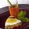 Polenta de concasse d'aubergine et de fromage de chèvre frais. Gaspacho de tomate