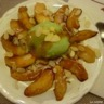 Pomme à la crème caramel au beurre salé et sorbet