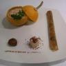 Pommes d'or aux châtaignes et sa crème au foie gras épicée croustillant aux cèpes