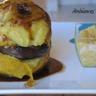 Pommes rôties au miel et à la cannelle compote de coings et boudin noir