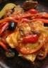 Poulet en cocotte aux poivrons olives et piment d'Espelette