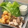 Poulet fermier fricassée de champignons et ses pommes noisettes sauce roquefort