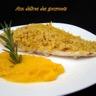 Purée de carottes au curcuma et daurade en croûte de crumble de pain au citron