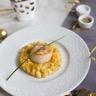 Risotto crémeux de potiron et fromage (l'Ortolan) noix de Saint-Jacques poêlées à l'huile de no...