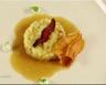 Risotto de pommes de terre lard crème de parmesan et jus d'oignon