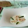 Saint-Jacques en carpaccio et crème de roquefort Papillon asperges vertes et noisettes