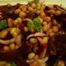 Salade de cocos de Paimpol aux betteraves bio crues et aux oignons de Roscoff