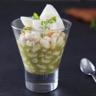 Salade de haricots blancs cabillaud et pesto de roquette (en verrine)