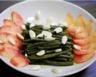 Salade de haricots verts pêche blanche et amandes fraîches