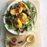 Salade de haricots verts pêches grillées et chorizo