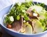 Salade de langue de boeuf tiède cresson pommes vertes et noisettes