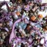 Salade de lentilles vertes chou rouge et raisin
