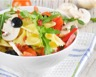 Salade de pâtes minceur aux champignons tomates et poivrons