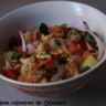 Salade de pommes de terre rougets crevette et pleins de légumes au bon goût de sésame