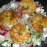 Salade de quinoa aux crevettes sautées