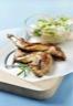 Salade de quinoa et de légumes croquants au lapin grillé