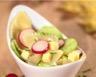 Salade de ravioles au concombre radis et gouda sauce au yaourt