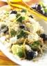 Salade de riz aux brocolis crottin de chèvre et olives