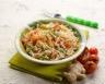 Salade de riz carottes roquette chèvre frais au pesto