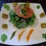 Salade de roquette ravioles croustillantes et vinaigrette d'agrumes