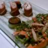 Salade fraîcheur et roulade de jambon de pays au chèvre frais
