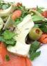 Salade saumon fumé avocat et olives vertes