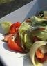 Salade tède de pommes de terre grenaille filets de harengs fumés et légumes d