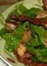 Salade tiède d'épinards petits pois et lard