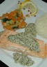 Saumon à l'oseille et sa brunoise de légumes