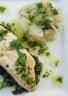 Saumon aux bettes et sa vinaigrette aux herbes