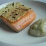 Saumon de Norvège confit l'huile d'olive purée chou-fleur à l'huile d'olive parfumée truffe tui...